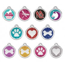 Red Dingo Stainless Steel Tag with Glitter